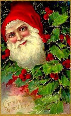 Bright Holly Santa--Vintage Postcard