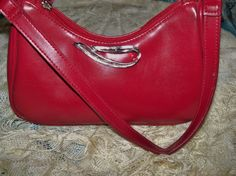 Upcycled Red Villager Purse Silver Swoosh by YoursOccasionally, $25.00