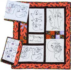 This wall hanging combines traditional quilt blocks and hand embroidered blocks. There are 5 different embroidery designs used in this one. Also includes instructions for a kitchen towel and snack mat. Skill Level: Advanced Beginner Technique: Pieced/Embroidery/Crayon Tint Halloween Patterns, Traditional Quilts, Kitchen Towels, Quilt Blocks, Embroidery Designs, Frame, Wall, Fun, Picture Frame
