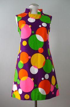 1960's Dress Mod Pop Art Cotton Shift
