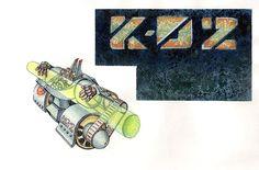 ilustración en tinta y lapiz de color ,logo en técnica mixta.personaje K-02 levantando un tubo de energia