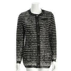 Chanel Black & White Metallic Wool Striped Cardigan - $999.99
