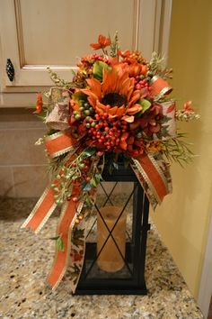 Kristen's Creations: Halloween And Fall Lantern Swags - Decor It Darling Fall Lanterns, Christmas Lanterns, Lanterns Decor, Fall Lantern Centerpieces, Easter Centerpiece, Candle Lanterns, Easter Decor, Candles, Thanksgiving Decorations