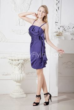 9d691c8d309 Eggplant Chiffon Spaghetti Straps A-line Mini Length Wedding Guest Dresses  With Ruffles