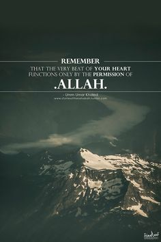 "Know that with every beat of your heart, (it) itself remembers and glorifies Allah""Subhan'Allaah."