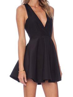 Black Sleeveless V Neck Flare Dress