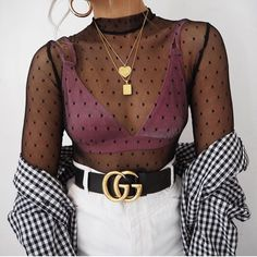 Top – Rebellious Fashion: Here Bralette – Missguided: Here Shirt – Asos: Similar Here Skirt – Mango: Here Belt – Gucci: Here Chains – Cinco Store: Here