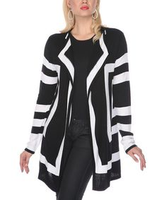 Take a look at this Black & White Mod Open Cardigan - Women & Plus by Gizel on #zulily today!