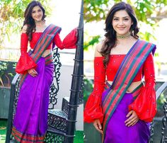 Looking for Off Shoulder Blouse Designs for sarees? Here are our picks of 16 amazing blouse designs you can wear with any saree. Blouse Back Neck Designs, Fancy Blouse Designs, Saree Jacket Designs, Cotton Saree Blouse Designs, Sari Blouse, Blouse Patterns, Off Shoulder Saree Blouse, Indian Bridal Outfits, Indian Dresses