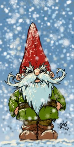 Tomte in Snow  by Gib-Art-and-Pinups  --  Conceptual©2007-2014 Gib-Art-and-Pinups  -  This is a tomte. He's a Swedish wood elf-gnome.   Hope you all enjoy it and thank you for taking the time to look at my work and hope you come back for more visits!