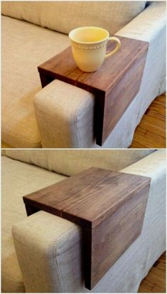 Wood Couch Arm Shelf: What an awesome idea! I would have never thought to do this. Wood Couch Arm Shelf: What an awesome idea! I would have never thought to do this. Reclaimed Wood Projects, Diy Wood Projects, Wood Crafts, Fun Projects, Weekend Projects, Resin Crafts, Decor Crafts, Fabric Crafts, Cute Dorm Rooms