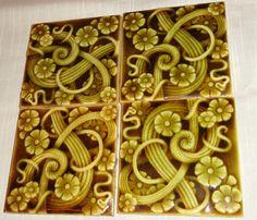 4 Great Aesthetic Movement Stoke on Trent Tiles Ceramic Pottery Antique Signed | eBay