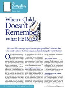 "Good article on training a child to visualise a ""movie"" as he reads to build comprehension skills - The Old Schoolhouse Magazine - December 2012 Kids Reading, Guided Reading, Teaching Reading, Teaching Ideas, Reading Stamina, Reading Comprehension Strategies, Reading Resources, English Resources, Teacher Resources"