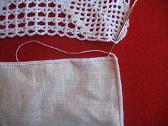 Agulhas Soltas - Artesanato em Geral: Toalha em linho e croché
