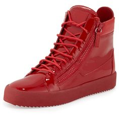 Giuseppe Zanotti Men's Patent Leather High-Top Sneaker (2.740 BRL) ❤ liked on Polyvore featuring mens, men's shoes, men's sneakers and red