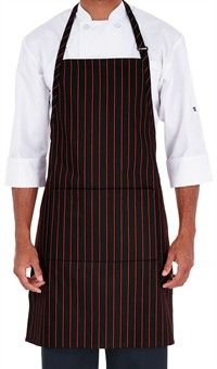 Chef Adjustable Bib Apron - Chalk Stripe Red Style #  4300CSR #chefuniforms #culinary #chefcoats #cooking #aprons