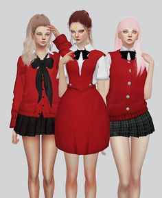 Female school Uniforms for The Sims 4