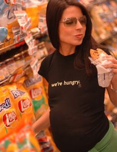 2 chix - Were Hungry Maternity Tee - Novelty Pregnancy Tees - Queen Bee Maternity Tees, Maternity Fashion, Maternity Style, Funny Maternity, Pregnancy Fashion, Pregnancy Humor, Pregnancy Tips, Pregnancy Pictures, Pregnancy Clothes