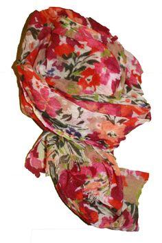 Schal aus Merinowolle mit floralem Muster in rot, pink und orange