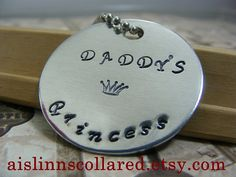 Daddy's Princess Handstamped Keychain by aislinnscollared on Etsy