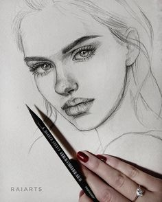 We Heart It'de kendi g… - Girl Drawing Pencil Art Drawings, Realistic Drawings, Art Drawings Sketches, Disney Drawings, Girl Drawings, Hipster Drawings, Girl Face Drawing, Face Art, Drawing Faces