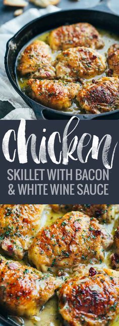 Skillet Chicken with Bacon and White Wine Sauce - a simple one-pot crowd-pleasing chicken recipe that goes perfectly with warm bread and a green salad!