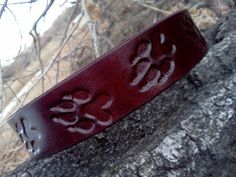 "Cool handmade custom leather dog collar 1"" band with embossed paw prints"