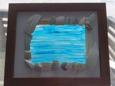 Beautiful matte with Sea Shells and Wooden Frame. Hand painted glass background by LuxeDesignsbyLucy See thru in the window!