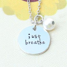 53aa45f3970 Uk 925 Silver Plt  Just Breathe    Semicolon Project Engraved Necklace Gift  18 Engraved