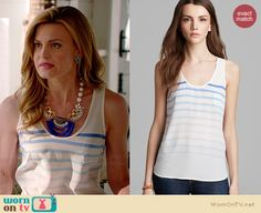 Paige's white ombre striped tank top on Royal Pains.  Outfit Details: http://wornontv.net/34413/ #RoyalPains