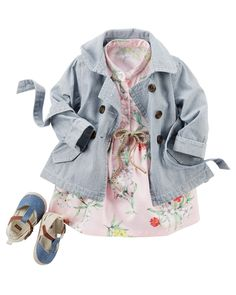 A chambray trench sits pretty over florals. Sweeten the look with bow clips and coordinating sandals.