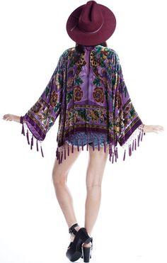 Royal Blue Violet Peacock Bohemian Mucha Gypsy Velvet Kimono Duster
