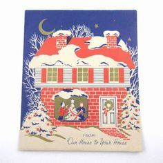 Vintage Gold Gilded Fold Out Christmas Card Window House Couple Decorating Tree
