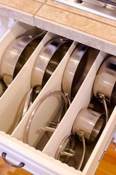 DIY Organizing Ideas for Kitchen - Divide A Deep Drawer - Cheap and Easy Ways to Get Your Kitchen Organized - Dollar Tree Crafts, Space Saving Ideas - Pantry, Spice Rack, Drawers and Shelving - Home Decor Projects for Men and Women http://diyjoy.com/diy-organizing-ideas-kitchen