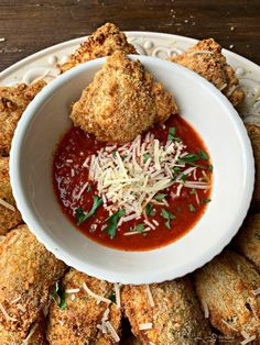 """Toasted Ravioli done light in your air fryer. A favorite appetizer, made with store purchased ravioli, air """"fried"""" and served with marinara sauce. Air Fryer Oven Recipes, Air Frier Recipes, Air Fryer Dinner Recipes, Gourmet Recipes, Appetizer Recipes, Cooking Recipes, Healthy Recipes, Seafood Appetizers, Party Recipes"""