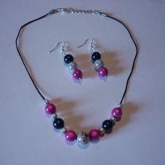 Parure : collier + boucles d'oreilles / perles nacrées / bleu blanc rose