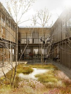 courtyard / CREO ARKITEKTER and WE architecture Shares First Prize for Danish Psychiatric Hospital,© CREO ARKITEKTER A/S & WE Architecture