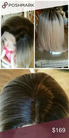 Ombre Blonde Beauty Lace Front Wig Color and length as pictured,  Heat resistant synthetic hair,  has combs and adjustable straps. Accessories Hair Accessories