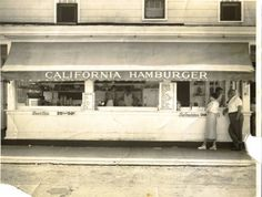 The California Hamburger stand facing on Wicomico Street circa 1960. Hamburgers cost 25 cents, cheeseburgers 30 cents, crab cake sandwiches 35 cents, and a submarine was priced at at whopping 60 cents. (Courtesy of Gordon Wilkins)