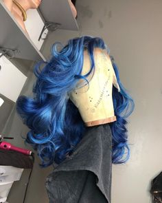Black Girl Curly Hairstyles, Haircuts Straight Hair, Dope Hairstyles, Weave Hairstyles, Curly Hair Styles, Cute Hair Colors, Cool Hair Color, Blue Hair Black Girl, Colored Wigs