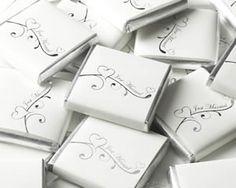 Bordkort Sjokoladeplate Hvit/sølv Just Married | Pynt Til Fest. Tips, inspirasjon og gode ideer til din fest. 5 kr stk