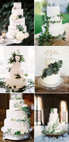 elegant white wedding cakes with greenery