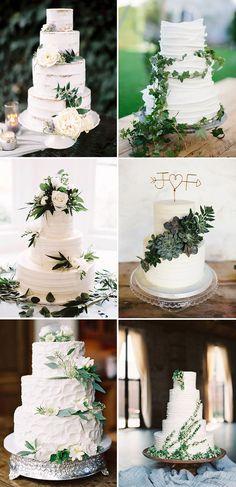 83948bc5b9941 elegant white wedding cakes with greenery Elegant Wedding Cakes