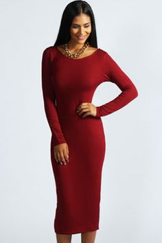 Susan Long Sleeve Midi Dress at boohoo.com