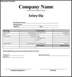 Attractive Simple Payslip Template Simple Salary Slip Template Sample With Company  Name And Editable . Within Salary Invoice Template