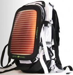 Solar Backpack; charge phone, camera.