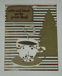Christmas coffee card made with the Winter Frolic and Christmas Cricut Cartridges and a coffe theme stamp that was heat embossed.
