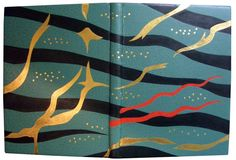 Water (an anthology of poems). Bound by Scott K. Kellar in 2009. The mesmerizing interplay of reflected/refracted light with underwater objects, visually throbbing and magnified, is the theme of this design.