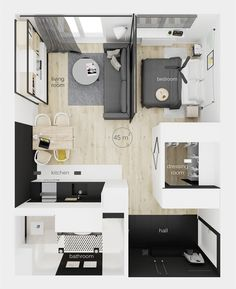 very tiny studio apartment ideas Modern Studio Apartment Ideas, Studio Apartment Floor Plans, Studio Apartment Layout, Small Apartment Design, Studio Apartment Decorating, Small Room Design, Bedroom Floor Plans, Apartment Interior, Small Apartments