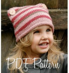 Knitting PATTERN-The Lyllie Hat (Toddler, Child, Adult sizes) - Crochet &, Knitting Instant Download Patterns for Baby and Audlt